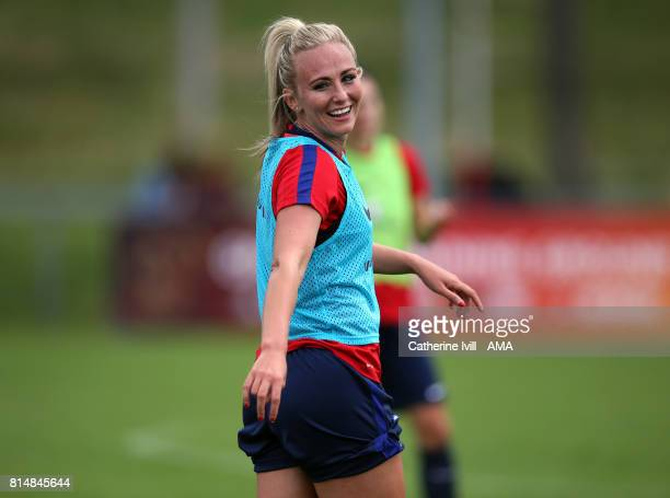 Toni Duggan of England Women smiles during the England training session on July 15 2017 in Utrecht Netherlands