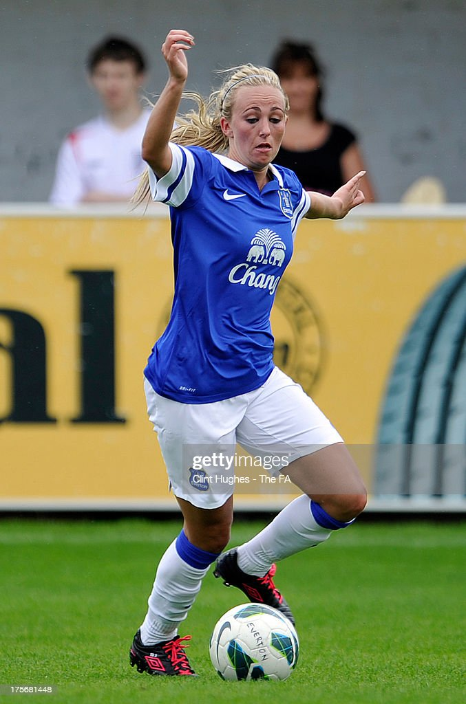 Toni Duggan of Everton Ladies FC during the FA WSL match between Everton Ladies FC and Bristol Academy Women's FC at the Arriva Stadium on July 4, 2013 in Liverpool, England