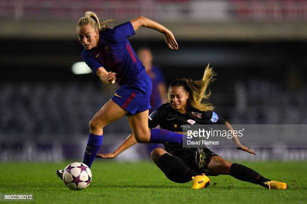Toni Duggan of FC Barcelona competes for the ball with Francielle of Avaldsnes during the UEFA Womens Champions League round of 32 match between FC...