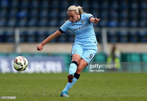 Toni Duggan of Manchester City in action during the Women's FA Cup Semi Final match between Chelsea Ladies and Manchester City Women at Adams Park on...