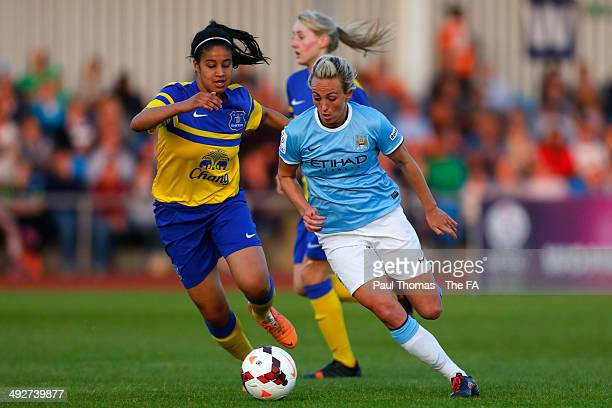 Toni Duggan of Manchester City in action with Gabby George of Everton during the FA WSL 1 match between Manchester City Women and Everton Ladies FC...