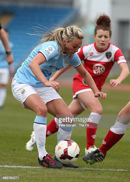 Toni Duggan of Manchester City Women attempts to control the ball during the FA WSL 1 match between Manchester City Women and Bristol Academy Women...