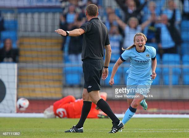 Toni Duggan of Manchester City Women celebrates scoring her side's second goal of the game during the WSL fixture between Manchester City Women and...