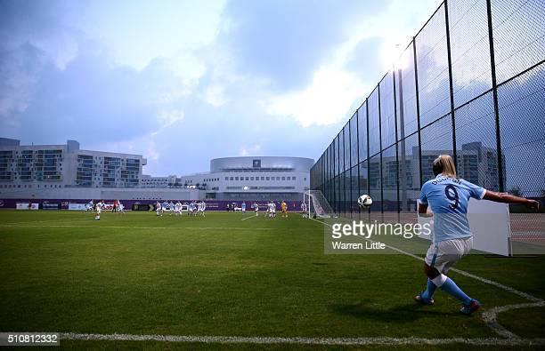 Toni Duggan of Manchester City Women's FC takes a corner during the Fatima Bint Mubarak Ladies Sports Academy Challenge between Melbourne City Women...