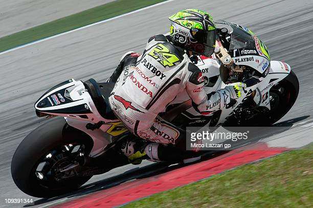 Toni Elias of Spain and LCR Honda MotoGP rounds the bend during the third day of testing at Sepang Circuit on February 24 2011 in Kuala Lumpur...
