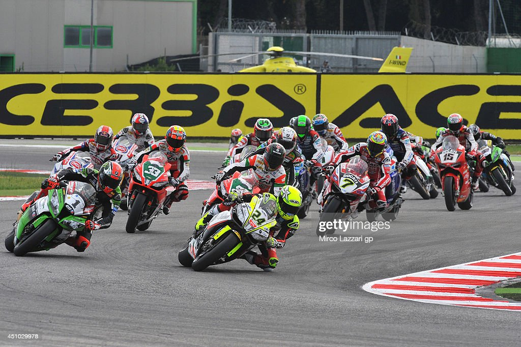 Toni Elias of Spain and Red Devils Roma leads the field during the Superbike race 1 during the FIM Superbike World Championship - Race at Misano World Circuit on June 22, 2014 in Misano Adriatico, Italy.