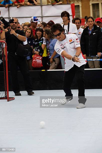 Toni Elias of Spain and San Carlo Honda Gresini takes part in the preevent Floorball Match with Riders in Brno city on August 13 2009 in Brno Czech...
