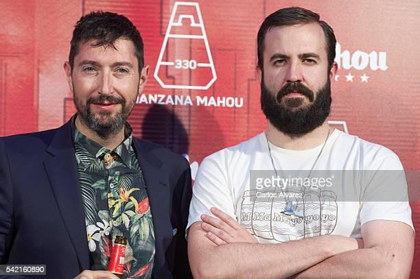 Toni Garrido and Antonio Castelo attend 'Manzana Mahou 330' inauguration on June 22 2016 in Madrid Spain