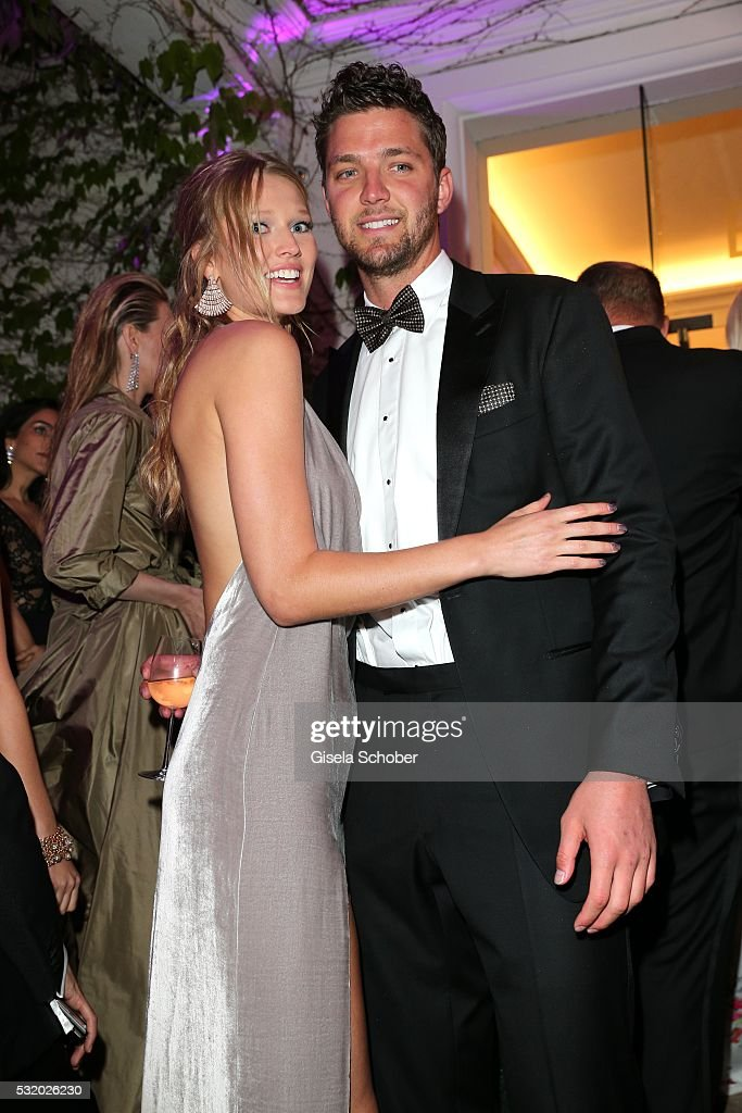 Toni Garrn and her boyfriend Chandler Parson during the 'De Grisogono' Party at the annual 69th Cannes Film Festival at Hotel du Cap-Eden-Roc on May 17, 2016 in Cap d'Antibes, France.