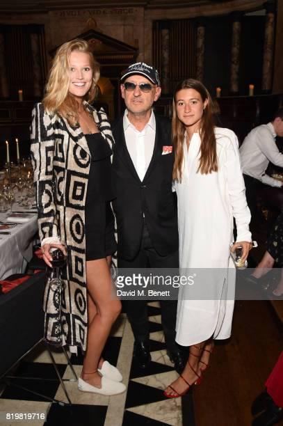 Toni Garrn Andrea Panconesi and Anna Greta Panconesi attend a dinner to celebrate the launch of the Luisaviaroma LVR Edition 3 project by Dilara...