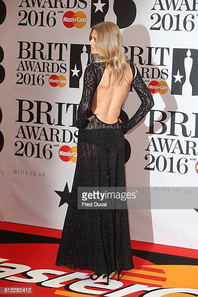 Toni Garrn attends the BRIT awards at The O2 Arena on February 24 2016 in London England