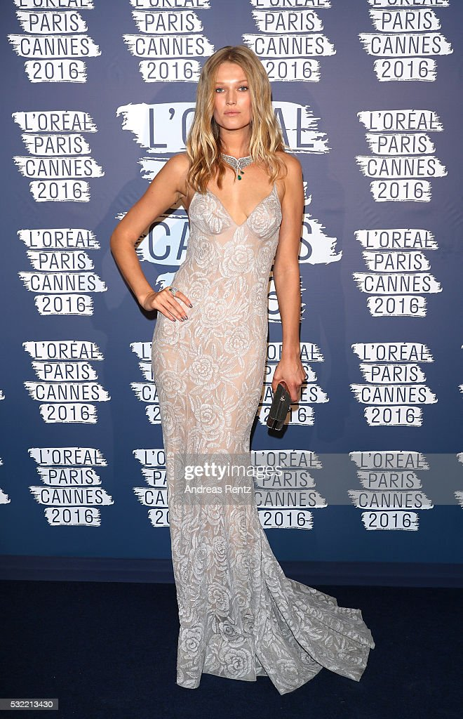 Toni Garrn attends the L'Oreal Paris Blue Obsession Party at the annual 69th Cannes Film Festival at Hotel Martinez on May 18 2016 in Cannes France