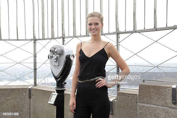 Toni Garrn lights The Empire State Building for Plan International USA in Honor of International Day of the Girl on October 9 2015 in New York City