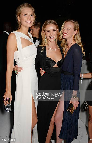 Toni Garrn Rosie Huntington Whiteley and Anne Vyalitsyna attend the de Grisogono 'Fatale In Cannes' party during the 67th Cannes Film Festival at...