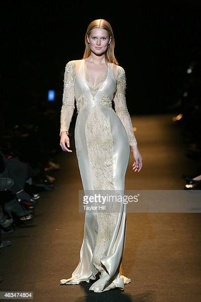 Toni Garrn walks the runway during Naomi Campbell's Fashion For Relief 2015 fall fashion show at The Theater at Lincoln Center on February 14 2015 in...