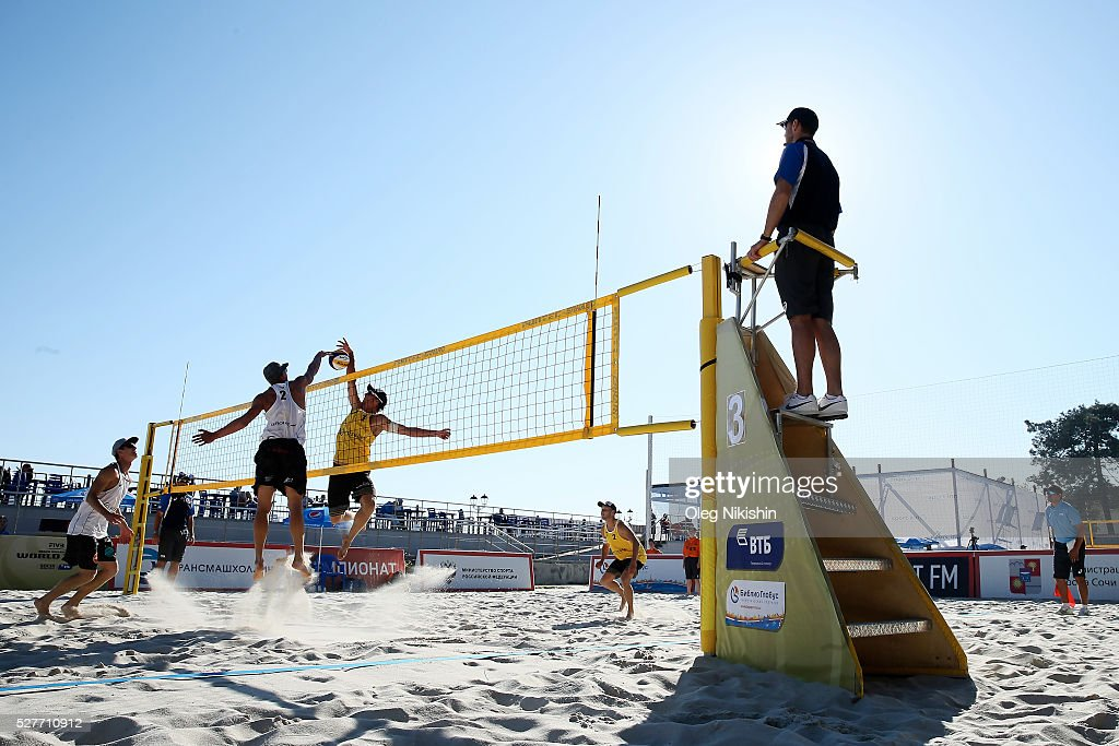 Toni Hellmuth of Germany (R) and Edgars Tocs of Latvia duel at the netFIVB Sochi Open presented by VTB - Day 1 on May 3, 2016 in Sochi, Russia.