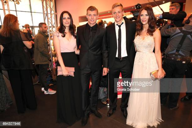 Toni Kroos and his wife Jessica Farber and his brother Felix Kroos and his girlfriend Lisa Klaas during the Toni Kroos charity gala benefit to the...