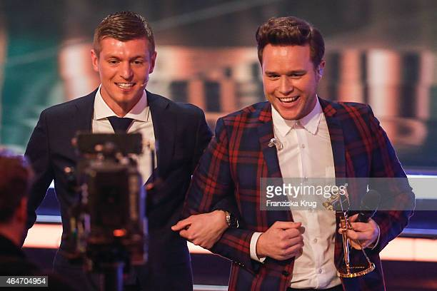 Toni Kroos and Olly Murs attend the Goldene Kamera 2015 show on February 27 2015 in Hamburg Germany