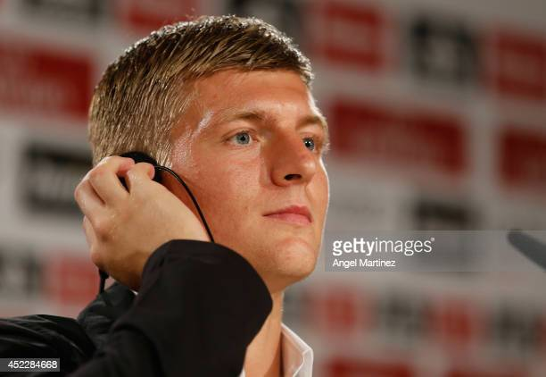 Toni Kroos attends a press conference after his official unveiling as a new Real Madrid player at Estadio Santiago Bernabeu on July 17 2014 in Madrid...