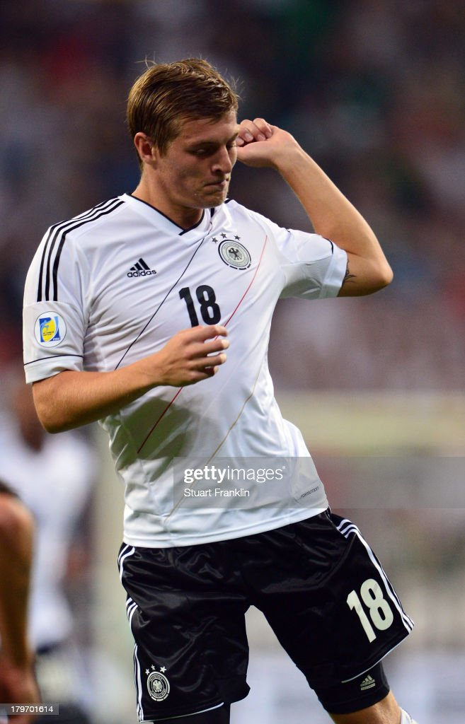 Toni Kroos celebrates scoring his goal during the FIFA 2014 world cup qualifier match between Germany and Austria at the Allianz Arena on September 6, 2013 in Munich, Germany.