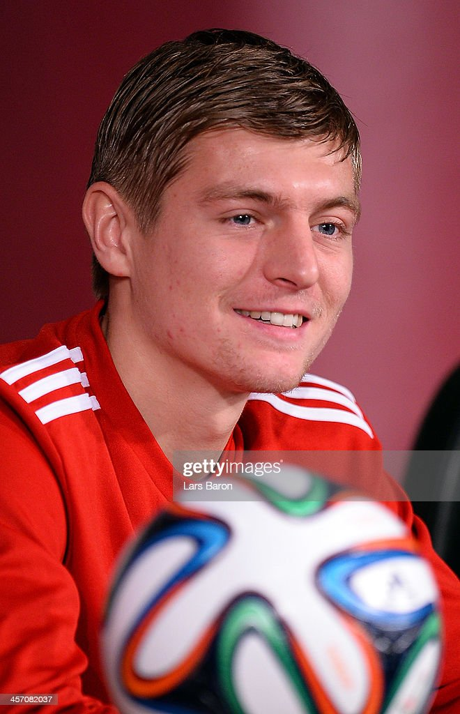 Toni Kroos looks on during a Bayern Muenchen press conference for the FIFA Club World Cup at Agadir Stadium on December 16, 2013 in Agadir, Morocco.