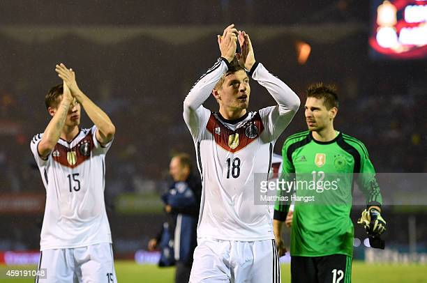 Toni Kroos of Germany and his teammates thanks the fans for their support after the International Friendly match between Spain and Germany at Estadio...