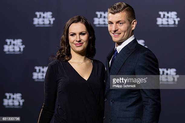 Toni Kroos of Germany and Real Madrid arrives with a guest for The Best FIFA Football Awards 2016 on January 9 2017 in Zurich Switzerland