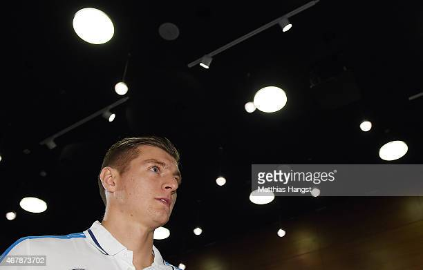 Toni Kroos of Germany arrives for the Germany press conference ahead of their Euro 2016 Qualifier against Georgia at the Radisson Blue Hotel on March...