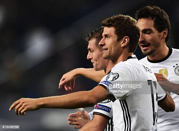 Toni Kroos of Germany celebrates scoring his goal with Thomas Mueller during the 2018 FIFA World Cup Qualifier match between Germany and Czech...