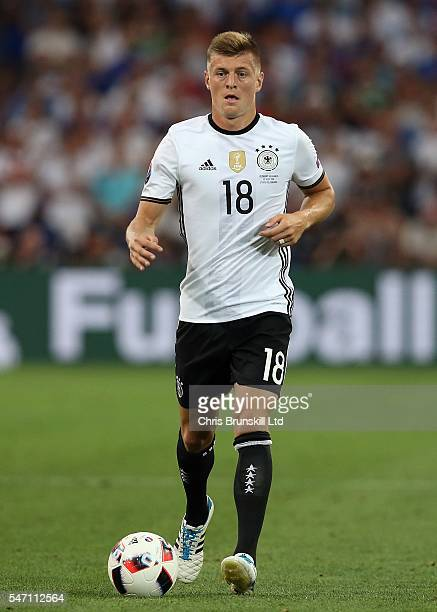 Toni Kroos of Germany in action during the UEFA Euro 2016 Semi Final match between Germany and France at Stade Velodrome on July 07 2016 in Marseille...