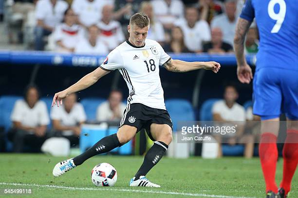 Toni Kroos of Germany in action during the UEFA Euro 2016 semifinal match between Germany and France at Stade Velodrome on July 7 2016 in Marseille...