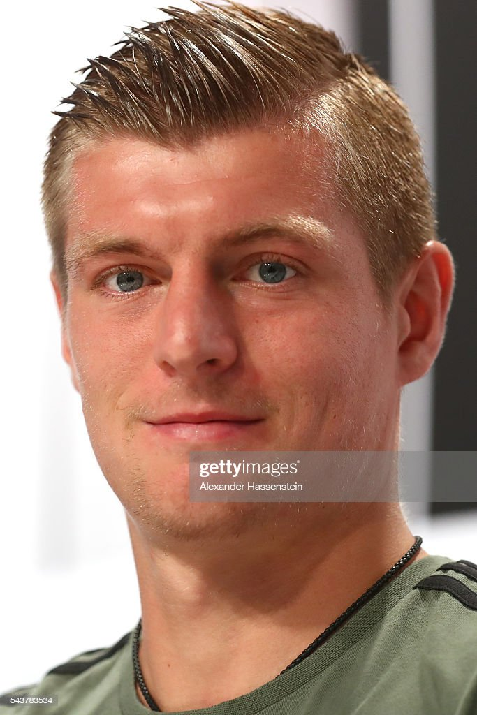 <a gi-track='captionPersonalityLinkClicked' href=/galleries/search?phrase=Toni+Kroos&family=editorial&specificpeople=638597 ng-click='$event.stopPropagation()'>Toni Kroos</a> of Germany looks on during a Germany press conference at Ermitage Evian on June 30, 2016 in Evian-les-Bains, France.