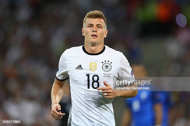 Toni Kroos of Germany looks on during the UEFA EURO semi final match between Germany and France at Stade Velodrome on July 7 2016 in Marseille France