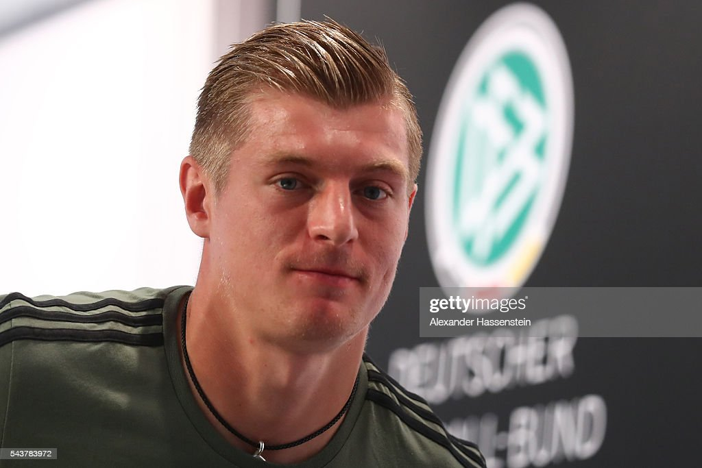 <a gi-track='captionPersonalityLinkClicked' href=/galleries/search?phrase=Toni+Kroos&family=editorial&specificpeople=638597 ng-click='$event.stopPropagation()'>Toni Kroos</a>, of Germany looks on prior to a Germany press conference at Ermitage Evian on June 30, 2016 in Evian-les-Bains, France.