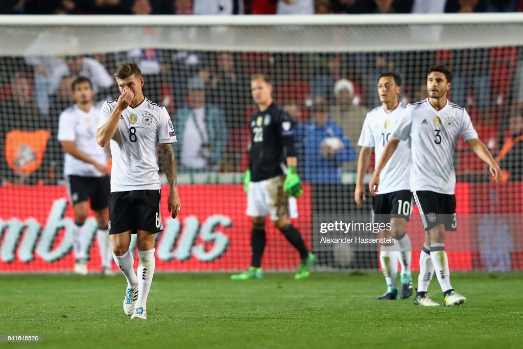 Toni Kroos #8 of Germany reacts after Vladimir Darida of Czech Republic scored his team's first goal during the FIFA World Cup Russia 2018 Group C Qualifier between Czech Republic and Germany at Eden Arena on September 1, 2017 in Prague, Czech Republic.