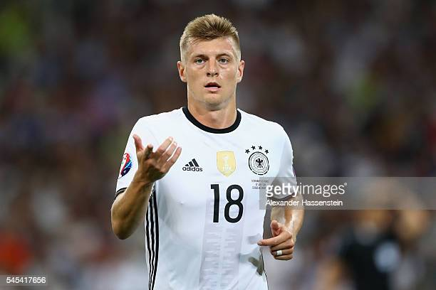 Toni Kroos of Germany reacts during the UEFA EURO semi final match between Germany and France at Stade Velodrome on July 7 2016 in Marseille France