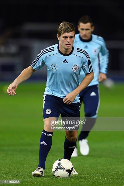 Toni Kroos of Germany runs with the ball during the training session at Olympiastadion on October 15 2012 in Berlin Germany