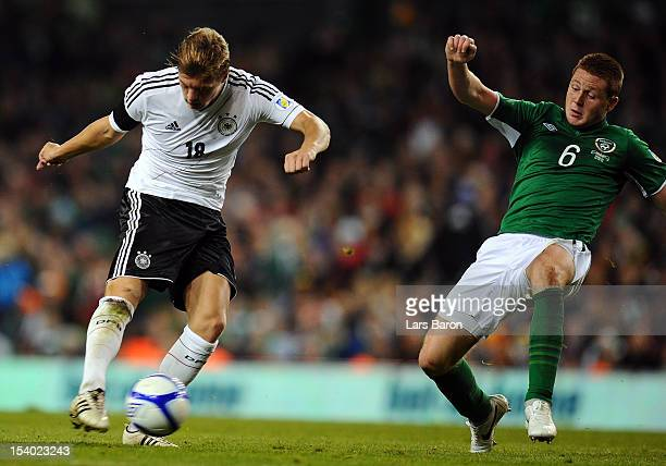 Toni Kroos of Germany scores his teams six goal during the FIFA 2014 World Cup Qualifier group C match between Republic of Ireland and Germany at...