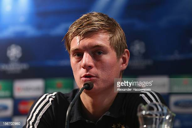 Toni Kroos of Muenchen talks to the media during a FC Bayern Muenchen press conference ahead of their UEFA Champions League group F match against...