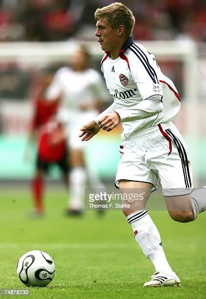 Toni Kroos of Munich runs with the ball during the A Juniors Final between Bayer Leverkusen and Bayern Munich at the BayArena on June 24 2007 in...