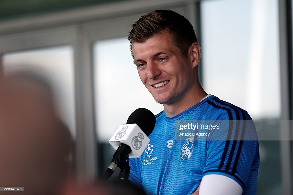 Toni Kroos of Real Madrid answers press members' questions during a press conference ahead of UEFA Champions League final football match between Atletico Madrid and Real Madrid CF in Madrid, Spain on May 24, 2016.