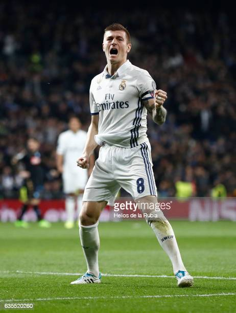 Toni Kroos of Real Madrid celebrates after scoring during the UEFA Champions League Round of 16 first leg match between Real Madrid CF and SSC Napoli...