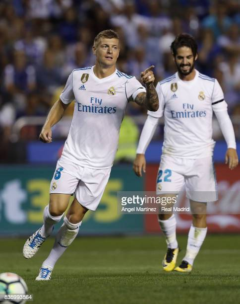 Toni Kroos of Real Madrid celebrates after scoring his team's third goal during the La Liga match between Deportivo La Coruna and Real Madrid CF at...