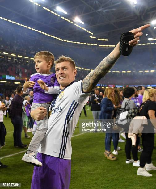 Toni Kroos of Real Madrid celebrates with his son after the UEFA Champions League Final between Juventus and Real Madrid at National Stadium of Wales...