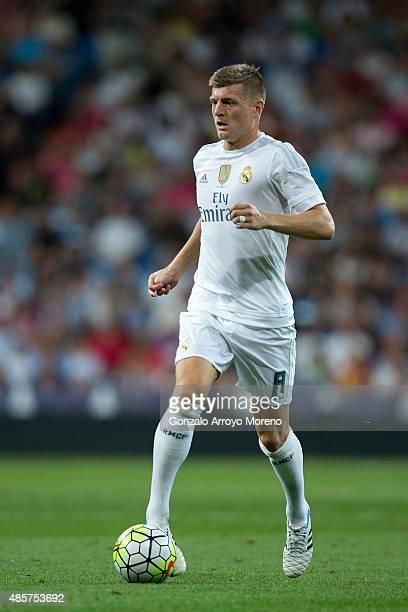 Toni Kroos of Real Madrid CF controls the ball during the La Liga match between Real Madrid CF and Real Betis Balompie at Estadio Santiago Bernabeu...