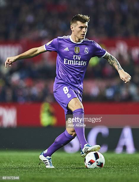 Toni Kroos of Real Madrid CF in action during the Copa del Rey Round of 16 Second Leg match between Sevilla FC vs Real Madrid CF at Ramon Sanchez...