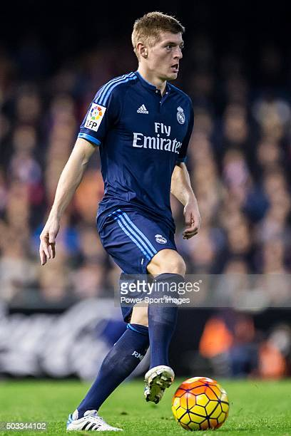 Toni Kroos of Real Madrid CF in action during the Valencia CF vs Real Madrid CF as part of the Liga BBVA 20152016 at Estadi de Mestalla on January 3...