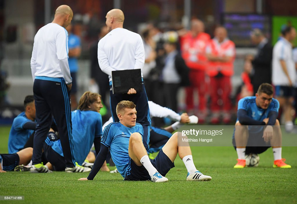 Toni Kroos of Real Madrid during a Real Madrid training session on the eve of the UEFA Champions League Final against Atletico de Madrid at Stadio Giuseppe Meazza on May 27, 2016 in Milan, Italy.