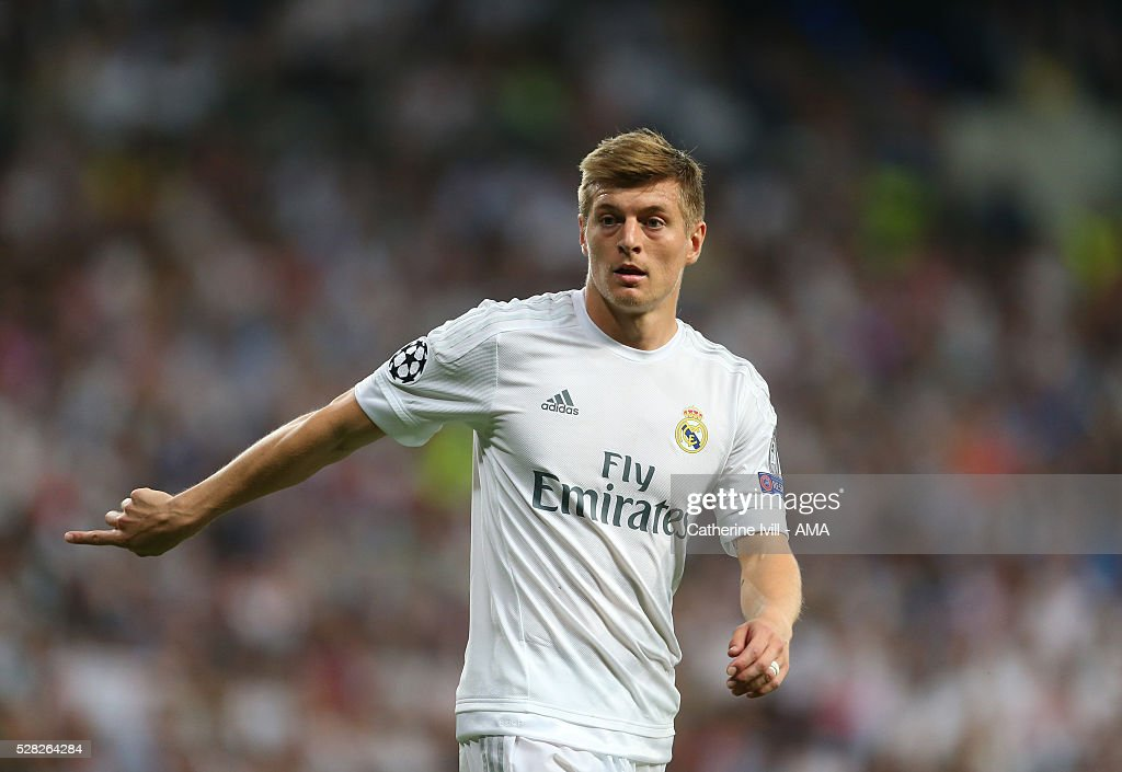 Toni Kroos of Real Madrid during the UEFA Champions League Semi Final second leg match between Real Madrid and Manchester City FC at Estadio Santiago Bernabeu on May 4, 2016 in Madrid, Spain.
