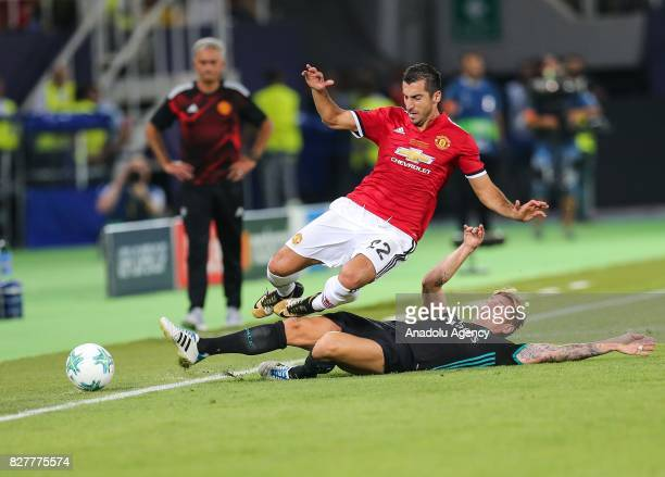 Toni Kroos of Real Madrid in action against Henrikh Mkhitaryan of Manchester United during the UEFA Super Cup final between Real Madrid and...